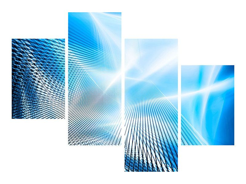 Hartschaumbild 4-teilig modern Laser
