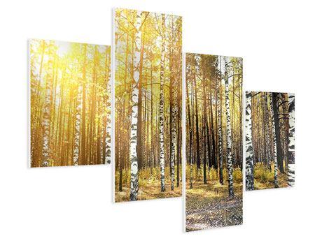 Hartschaumbild 4-teilig modern Birkenwald