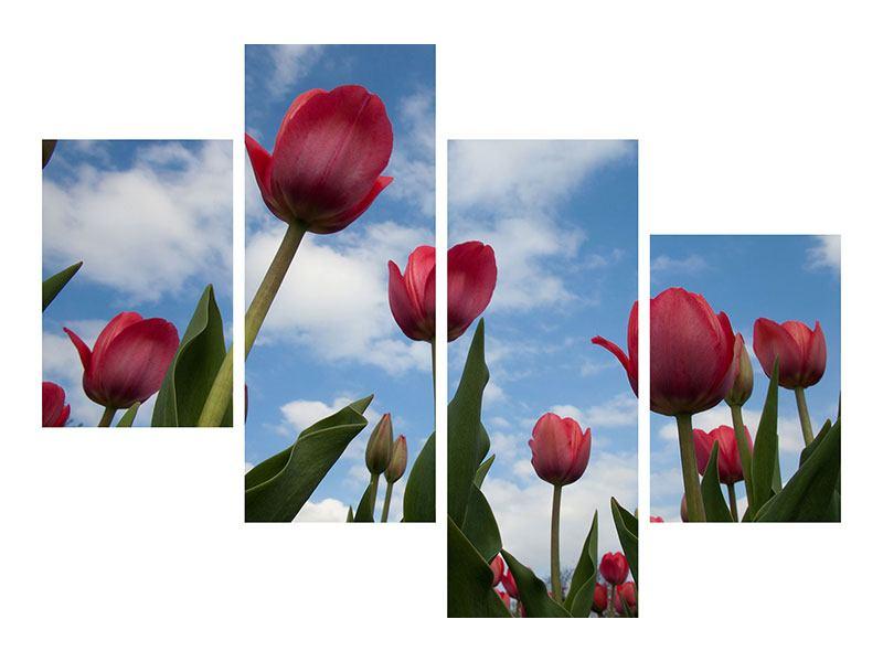 Hartschaumbild 4-teilig modern Tulpen im Himmel