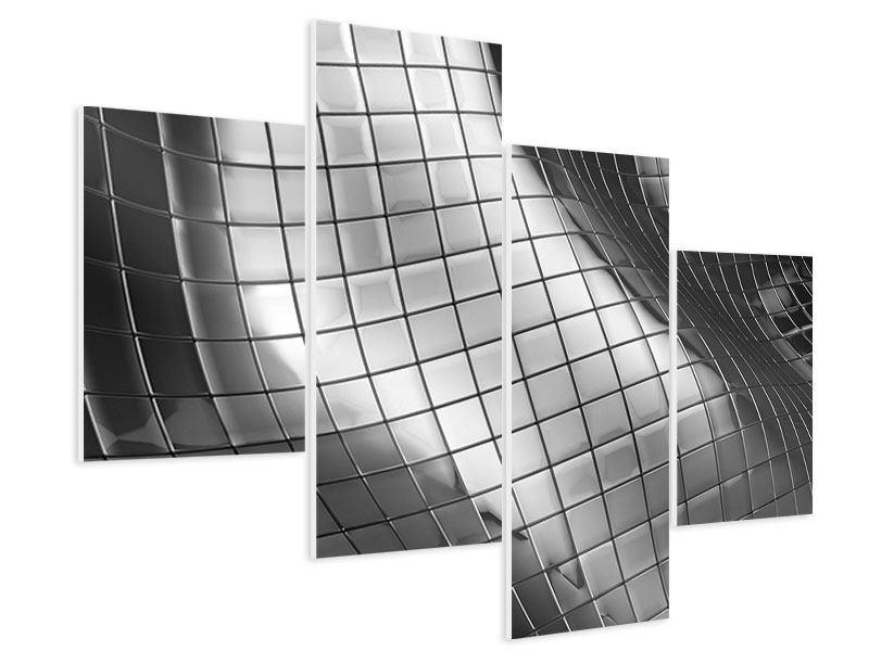 Hartschaumbild 4-teilig modern Abstrakter Stahl