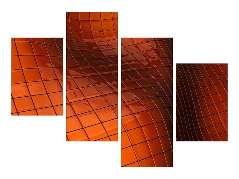 Hartschaumbild 4-teilig modern 3D-Kacheln
