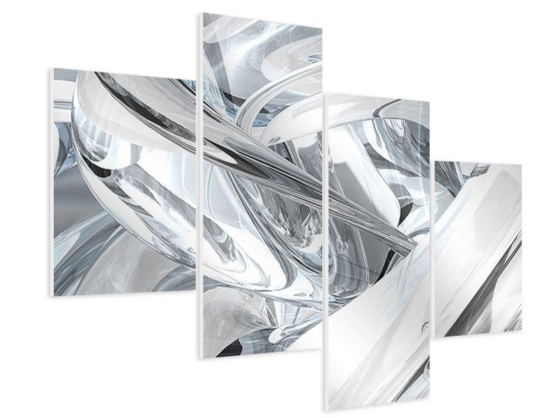 Hartschaumbild 4-teilig modern Abstrakte Glasbahnen