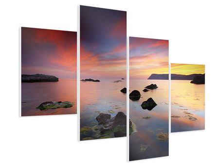 Hartschaumbild 4-teilig modern Ein Sonnenuntergang am Meer