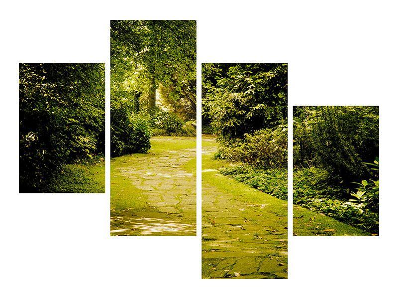 Hartschaumbild 4-teilig modern Der bemooste Weg