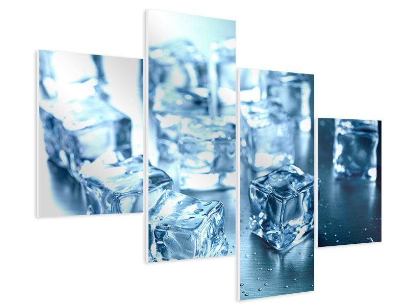 Hartschaumbild 4-teilig modern Viele Eiswürfel