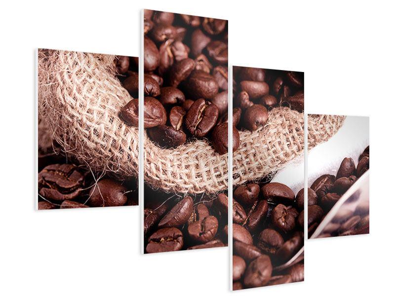 Hartschaumbild 4-teilig modern XXL Kaffeebohnen