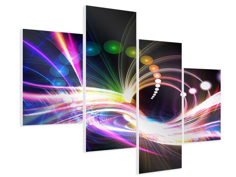 Hartschaumbild 4-teilig modern Abstrakte Lichtreflexe