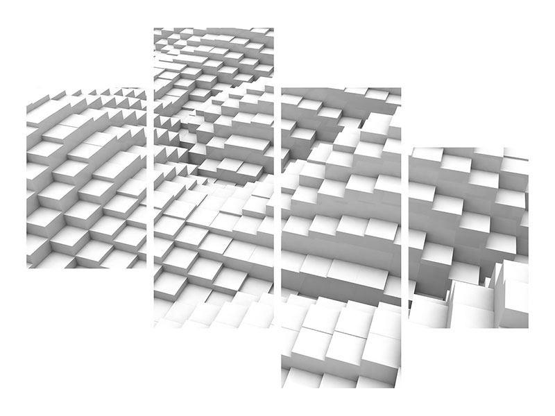Hartschaumbild 4-teilig modern 3D-Elemente