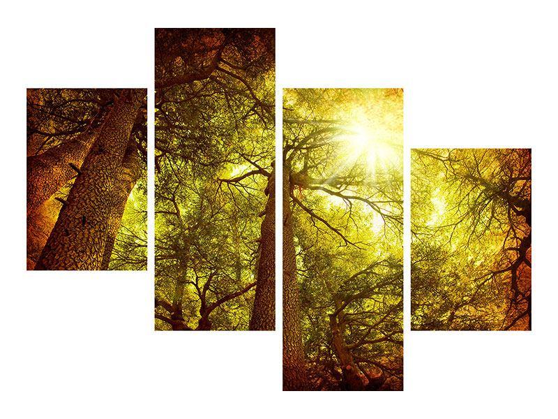 Hartschaumbild 4-teilig modern Cedar Baum