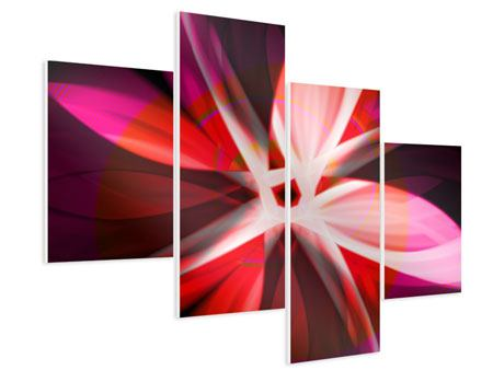Hartschaumbild 4-teilig modern Abstrakt Flower Power