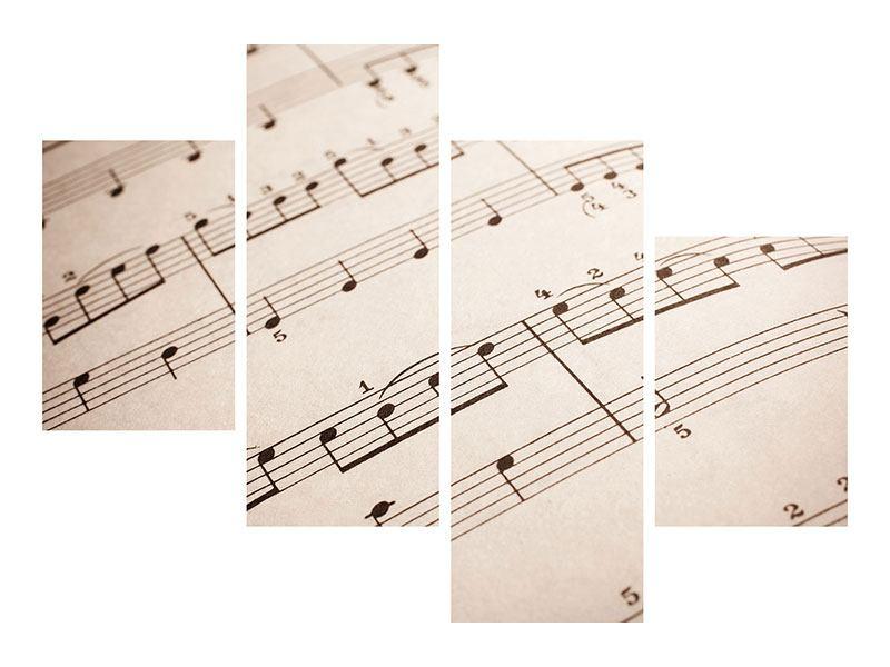 Hartschaumbild 4-teilig modern Das Notenblatt
