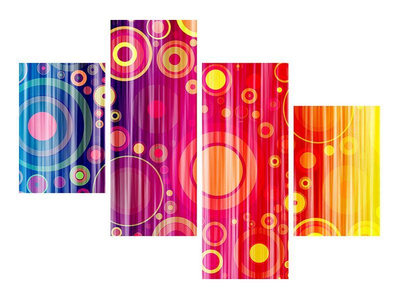 Hartschaumbild 4-teilig modern Grunge-Retrokreise