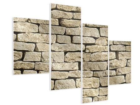 Hartschaumbild 4-teilig modern Alte Mauer