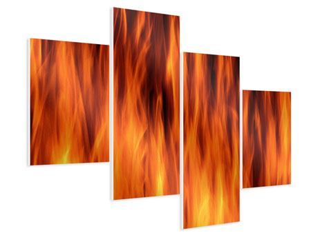 Hartschaumbild 4-teilig modern Feuer Close Up
