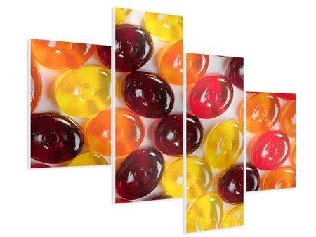 Hartschaumbild 4-teilig modern Bonbons