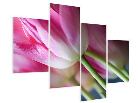 Hartschaumbild 4-teilig modern Makro Tulpen