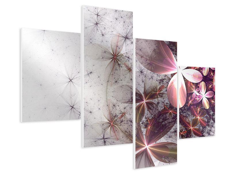 Hartschaumbild 4-teilig modern Abstrakte Blumen