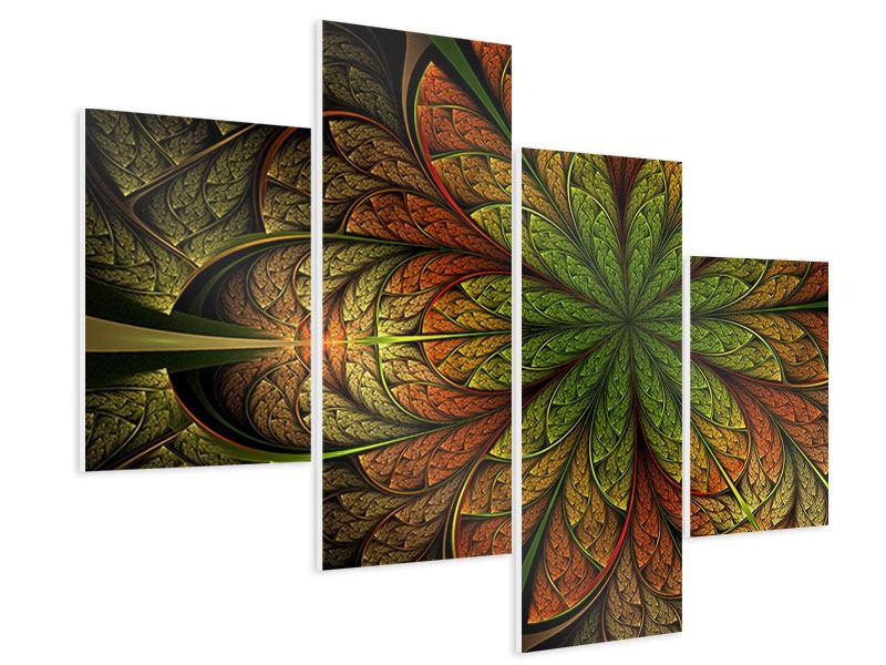 Hartschaumbild 4-teilig modern Abstraktes Blumenmuster