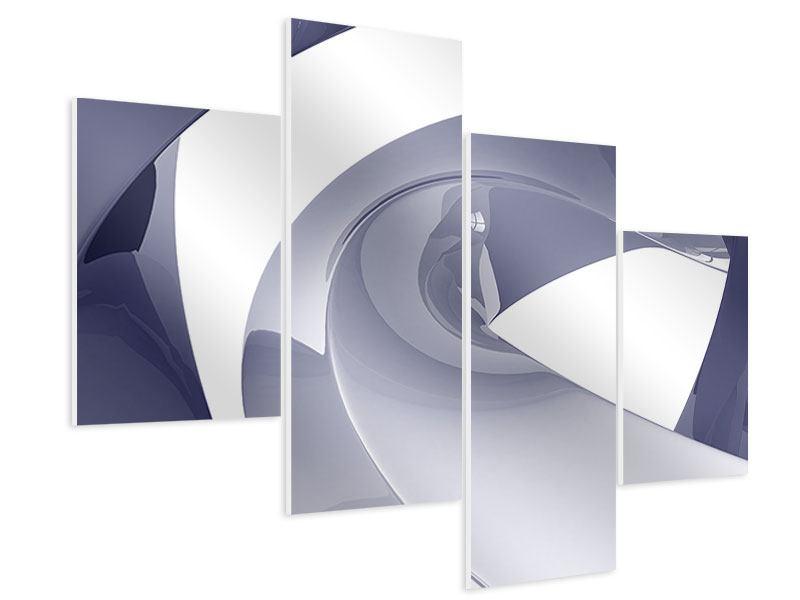 Hartschaumbild 4-teilig modern Abstrakte Schwingungen