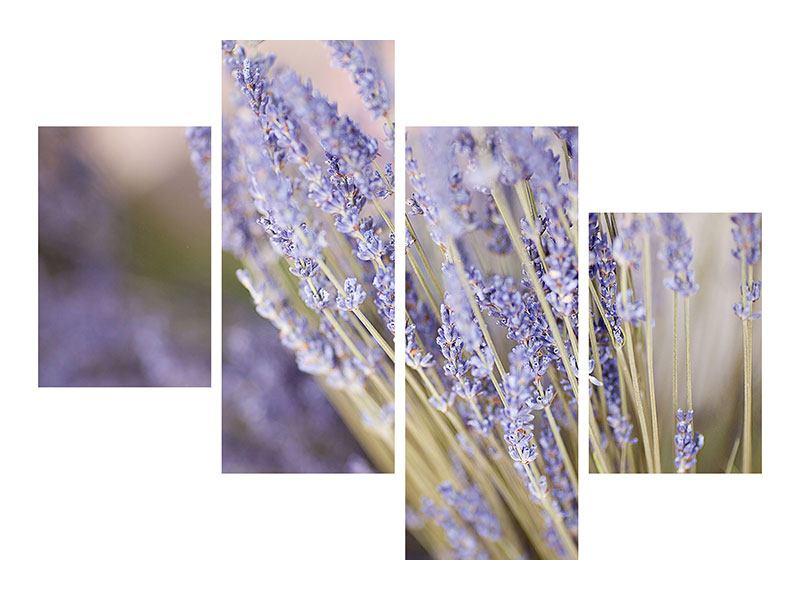 Hartschaumbild 4-teilig modern Lavendel XXL
