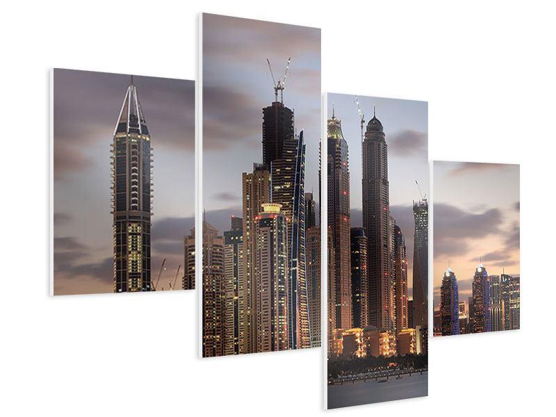 Hartschaumbild 4-teilig modern Skyline Dubai bei Sonnenuntergang