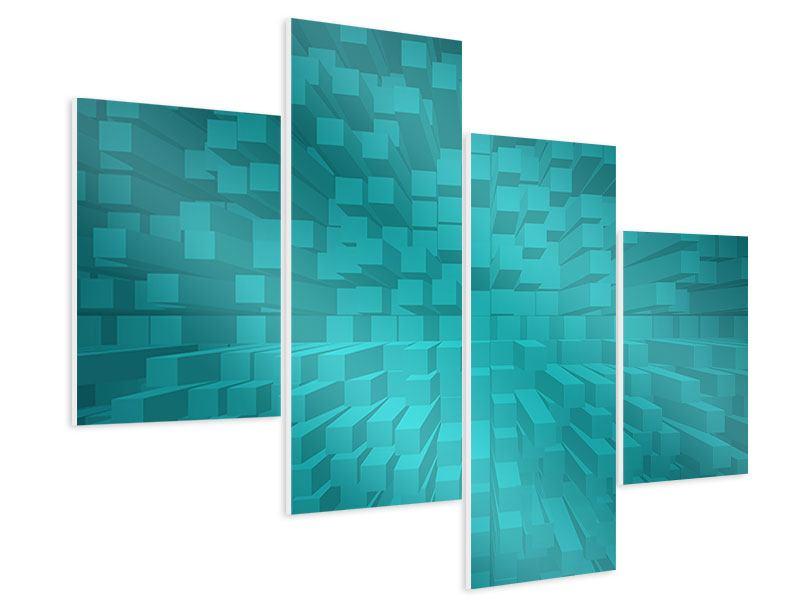 Hartschaumbild 4-teilig modern 3D-Kubusse