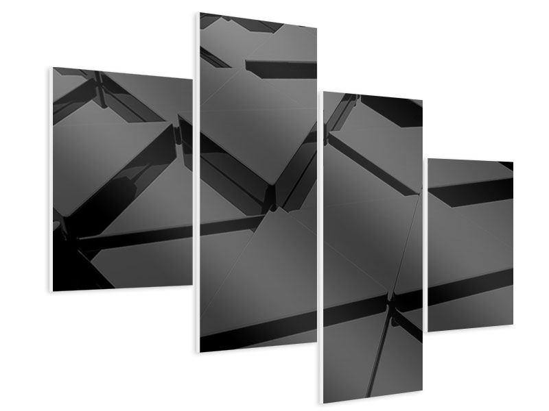 Hartschaumbild 4-teilig modern 3D-Dreiecksflächen