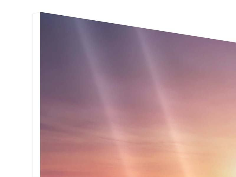Hartschaumbild 4-teilig modern Sonnenuntergang auf See