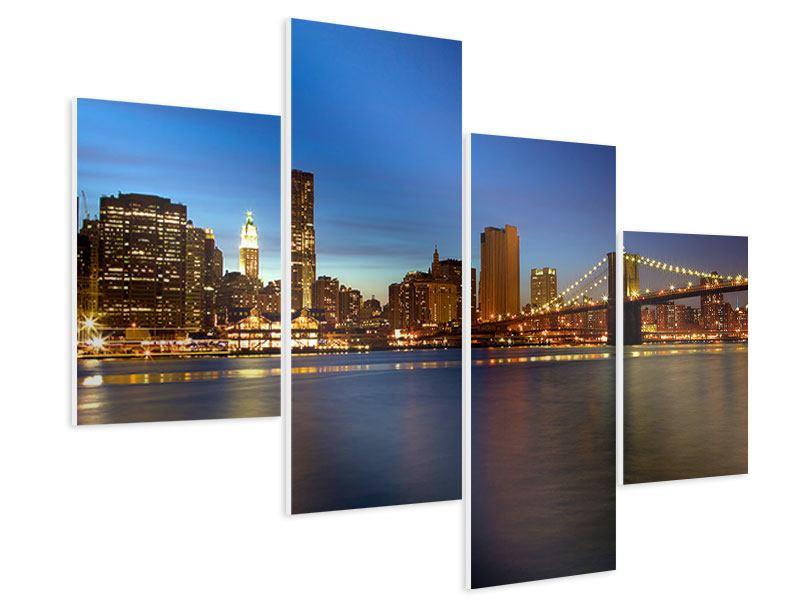 Hartschaumbild 4-teilig modern Skyline Manhattan im Lichtermeer