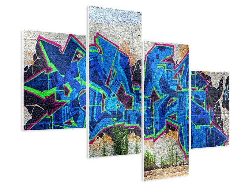 Hartschaumbild 4-teilig modern Graffiti NYC