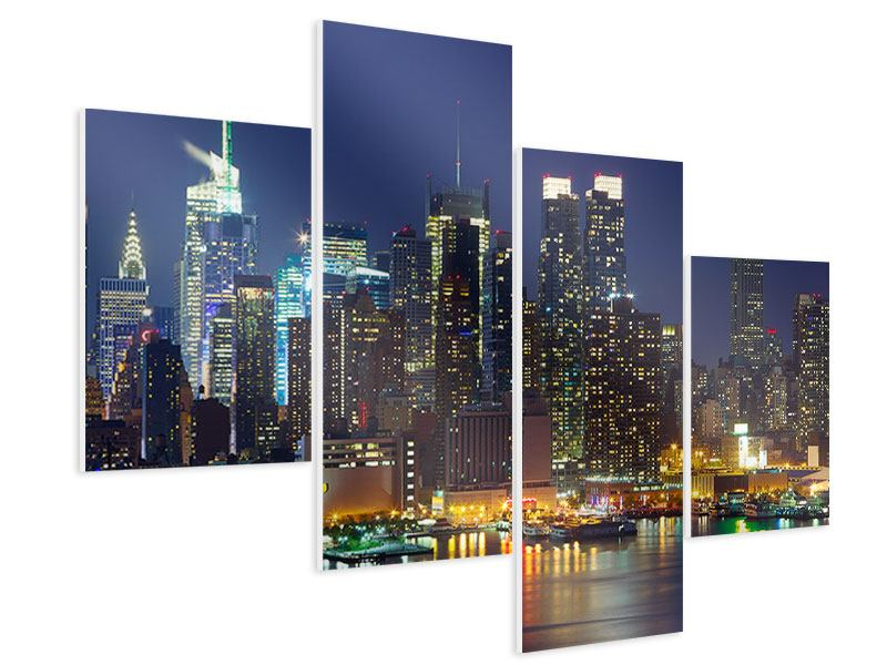 Hartschaumbild 4-teilig modern Skyline New York Midtown bei Nacht