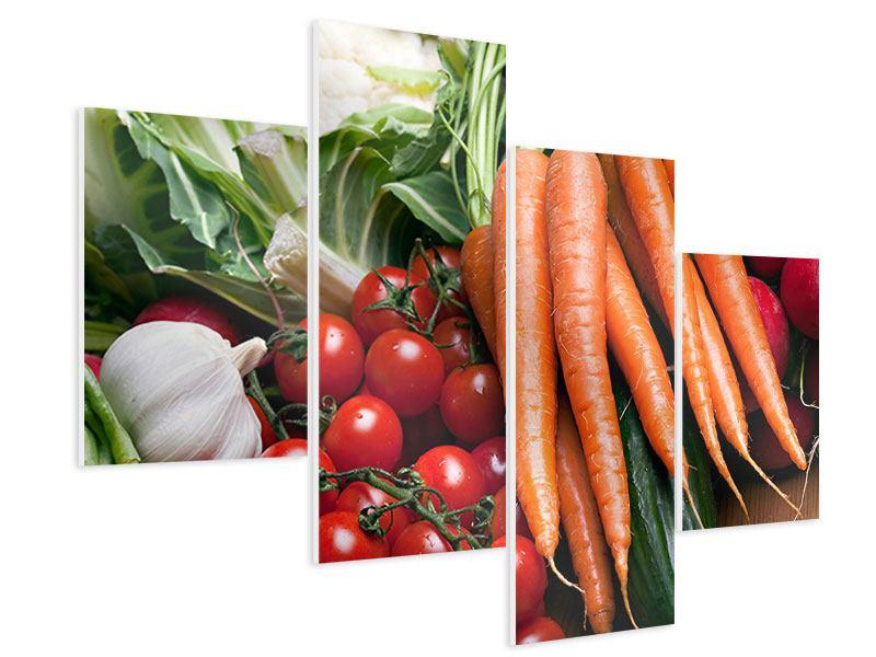 Hartschaumbild 4-teilig modern Gemüse