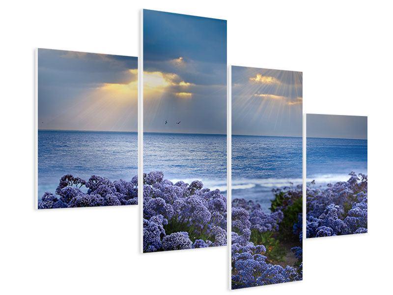 Hartschaumbild 4-teilig modern Der Lavendel und das Meer
