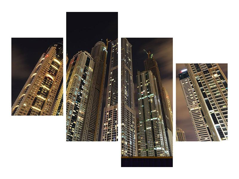 Hartschaumbild 4-teilig modern Wolkenkratzer Dubai Marina