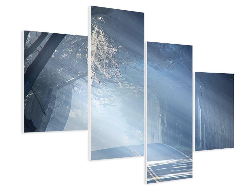 Hartschaumbild 4-teilig modern Lichtdurchflutete Baumallee
