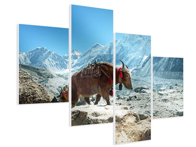 Hartschaumbild 4-teilig modern Das Himalaya-Gebirge