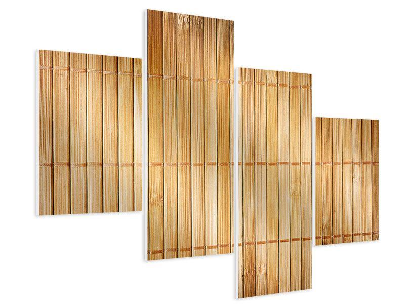 Hartschaumbild 4-teilig modern Bambusrohre