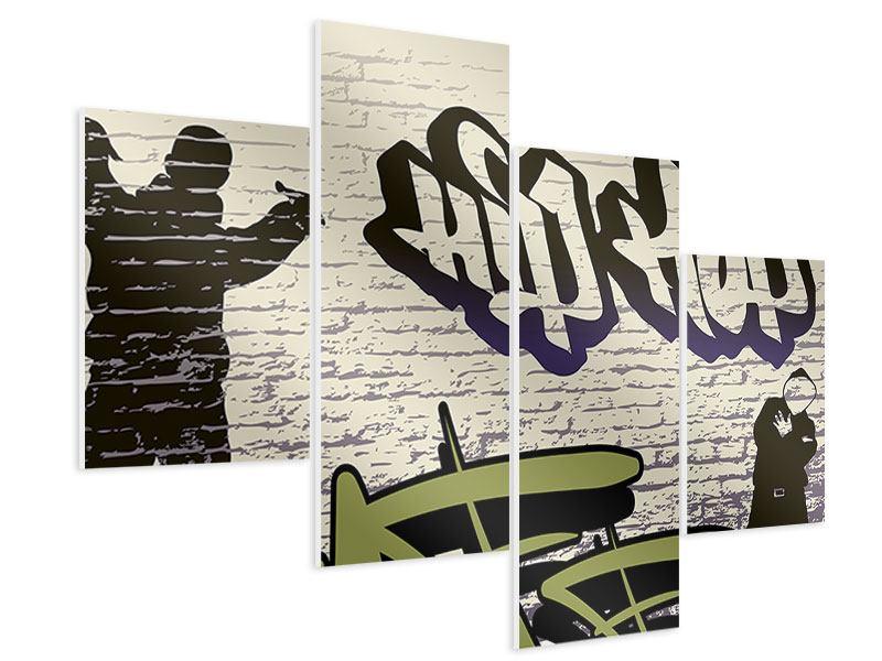 Hartschaumbild 4-teilig modern Graffiti Hip Hop