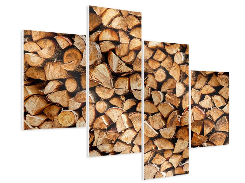 Hartschaumbild 4-teilig modern Gestapeltes Holz