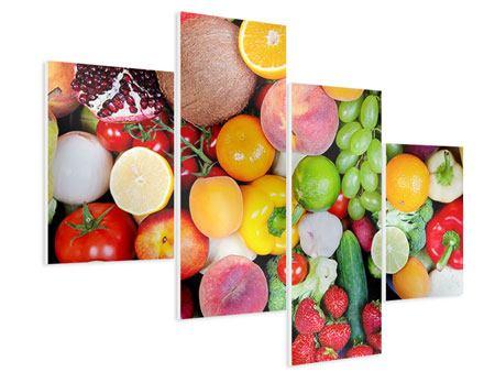 Hartschaumbild 4-teilig modern Frisches Obst