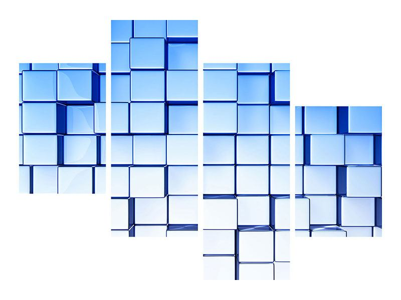 Hartschaumbild 4-teilig modern 3D-Symetrie