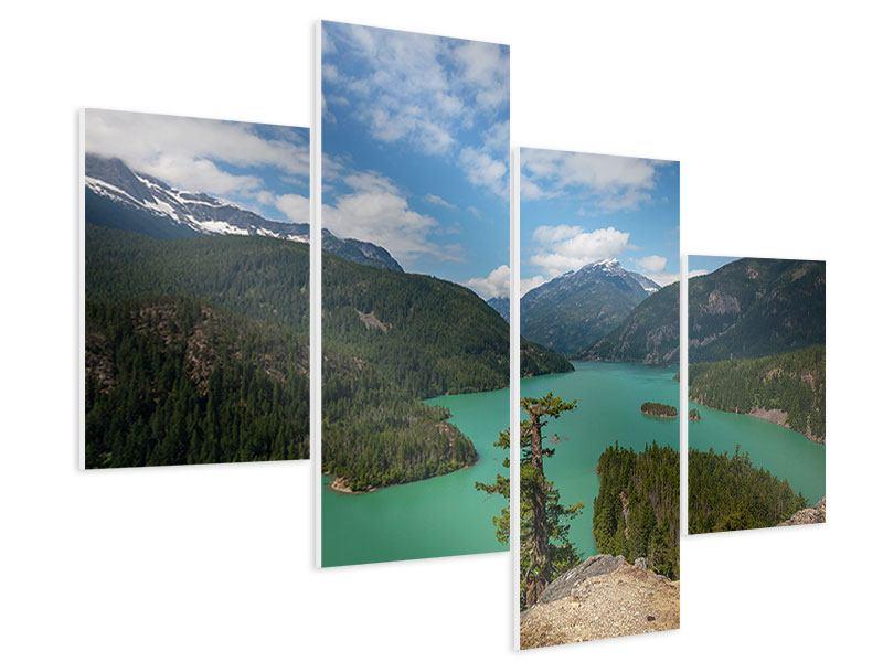 Hartschaumbild 4-teilig modern Diablo Bergsee