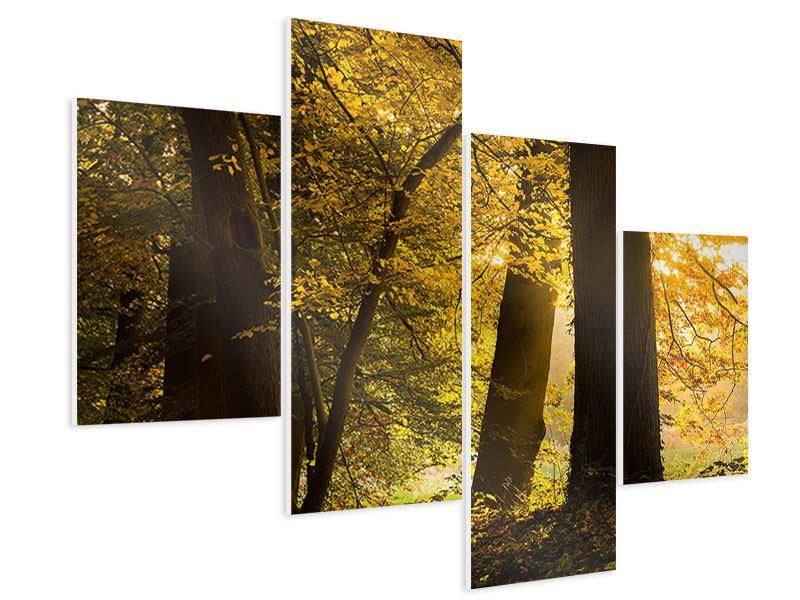 Hartschaumbild 4-teilig modern Herbstlaub