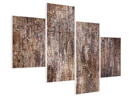 Hartschaumbild 4-teilig modern Retro-Holz
