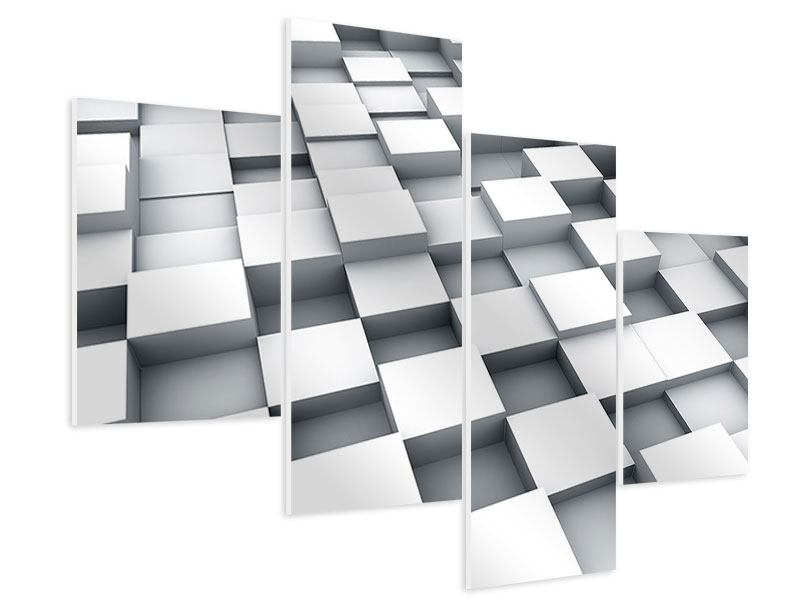 Hartschaumbild 4-teilig modern 3D-Kubus