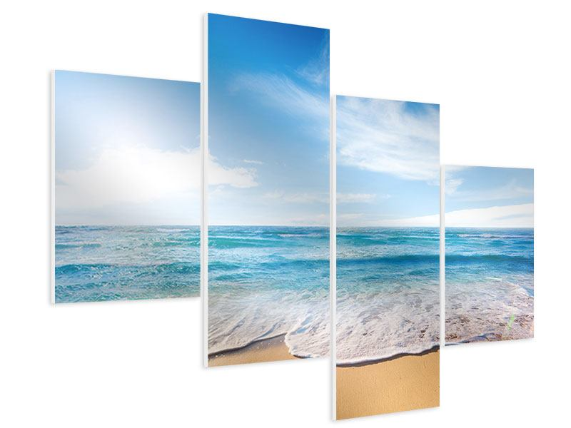 Hartschaumbild 4-teilig modern Spuren im Sand