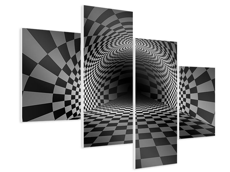 Hartschaumbild 4-teilig modern Abstraktes Schachbrett