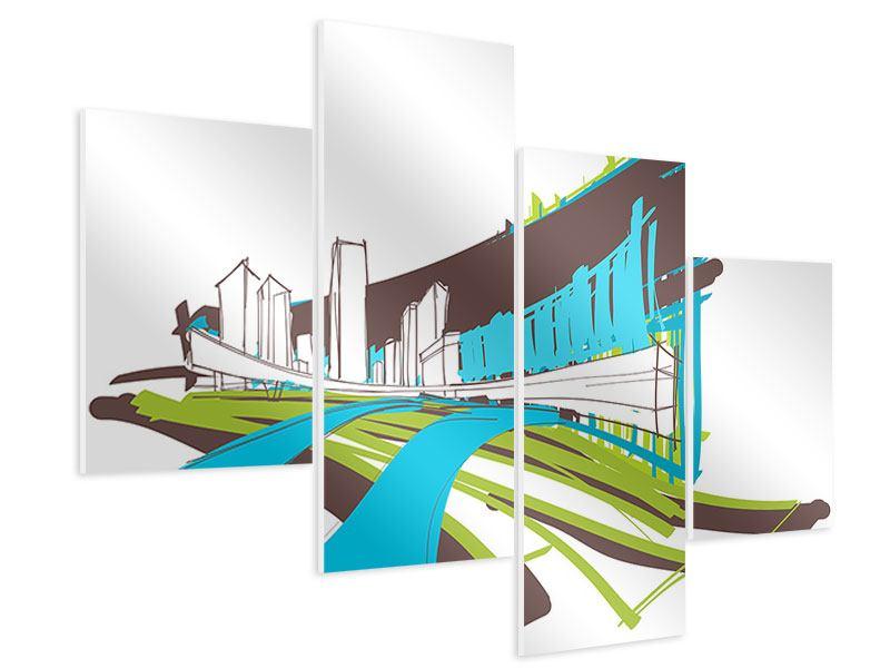 Hartschaumbild 4-teilig modern Graffiti Street-Art