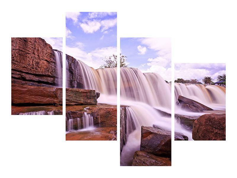 Hartschaumbild 4-teilig modern Himmlischer Wasserfall