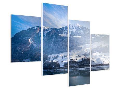 Hartschaumbild 4-teilig modern Winterwunderland